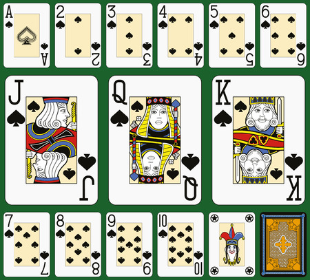 suite: Playing cards, spades suite, joker and back. Faces double sized. Green background. Illustration
