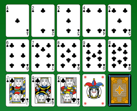 suite: Playing cards, club suite, joker and back. Green background.