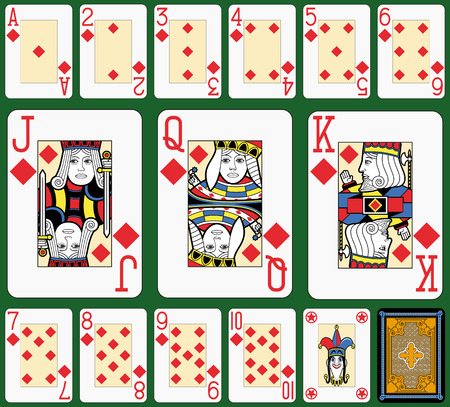 suite: Playing cards, diamonds suite, joker and back. Faces double sized. Green background.