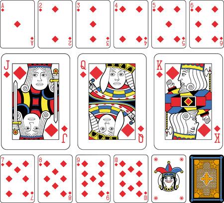 Jugando a las cartas, los diamantes de baño, bromista y de regreso. Caras de tamaño doble. Fondo verde. Foto de archivo - 36968032