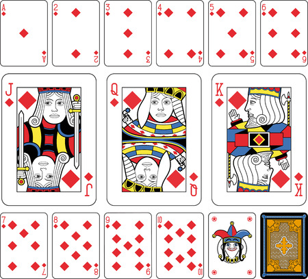 playing card set symbols: Playing cards, diamonds suite, joker and back. Faces double sized. Green background.