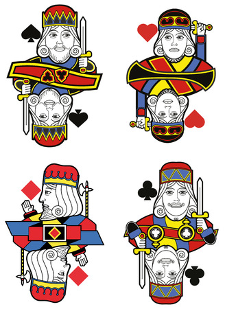 playing card symbols: Four Kings without cards. Original design Illustration