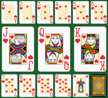 Playing cards, hearts suite, joker and back. Faces double sized. Green background. Stock Illustratie