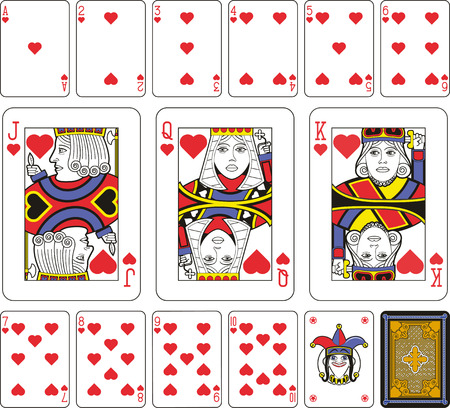 playing card: Playing cards, hearts suite, joker and back. Faces double sized. Green background. Illustration
