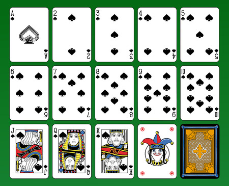 suite: Playing cards, spades suite, joker and back. Green background. Illustration