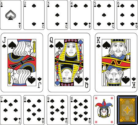 cartas de poker: Jugando a las cartas, espadas de ba�o, bromista y de regreso. Caras de tama�o doble. Fondo verde.