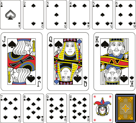 sized: Playing cards, spades suite, joker and back. Faces double sized. Green background. Illustration