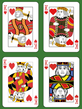 jack of hearts: Four Kings of Hearts in four different styles on a green background Illustration