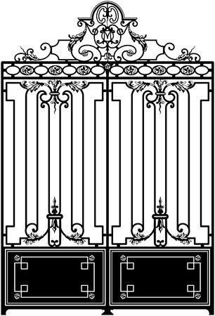 gates: Old wrought iron gate decorated with swirls. Black and white and vertically oriented