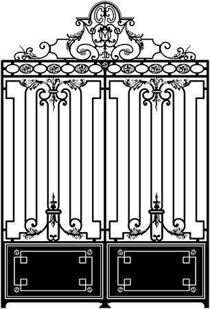 verjas: Vieja puerta de hierro forjado decorada con remolinos. blanco y negro y orientadas verticalmente