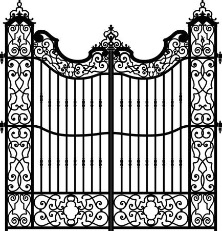 Oude smeedijzeren hek vol werveling decoraties. Ijzeren staven in het midden van de structuur. Zwart en wit. Vector Illustratie