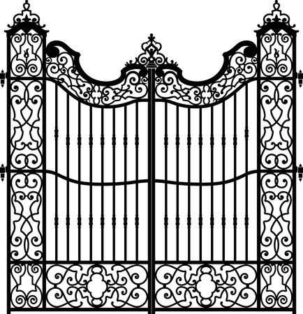 Old wrought iron gate full of swirl decorations. Iron bars on the center of the structure. Black and white. Illustration