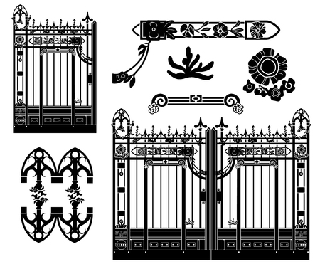 Old wrought iron gate with floral decorations. Various isolated elements. Illustration