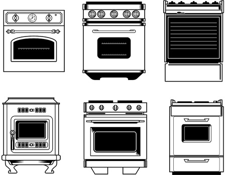 inox: front view of six black and white isolated vintage ovens