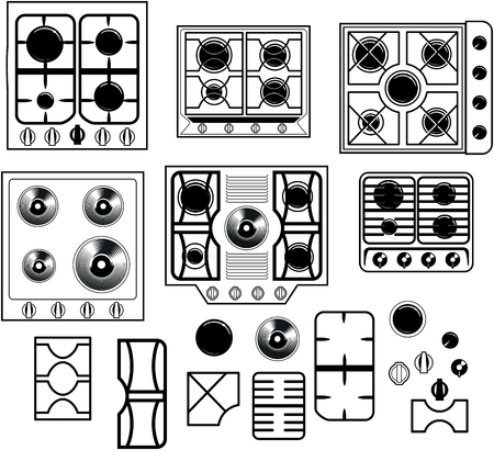 hob: Top view of a set of six hob equipment with the elements to recreate your own personal hob Illustration