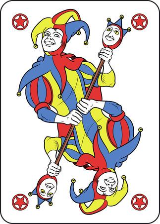 Joker reversible se muestra dentro de su tarjeta de juego. Él sostiene un extraño cetro con ambas manos y usa su típico disfraz de bufón medieval. Rojo, amarillo, azul y blanco son los colores principales de esta ilustración. El contorno es negro y suavemente mod