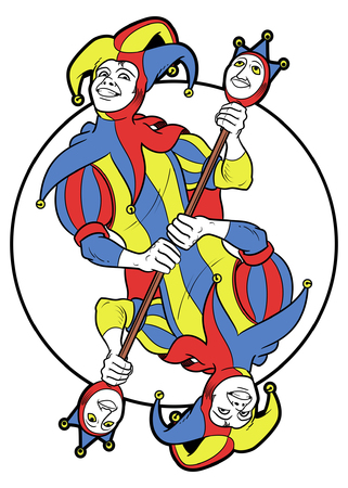 Reversible Joker displayed inside a circle. He holds a strange scepter with both his hands and he wears his typical medieval jester costume. Red, yellow, blue and white are the main colours of this illustration. The outline is black, softly modulated and