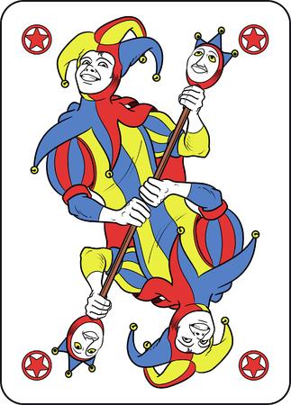 リバーシブルのジョーカーが彼のトランプのカード内に表示されます。彼は両方の彼の手で奇妙な杖を保持し、彼は彼の典型的な中世道化師の衣装  イラスト・ベクター素材