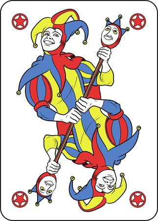 Reversible Joker displayed inside his playing card. He holds a strange scepter with both his hands and he wears his typical medieval jester costume. Red, yellow, blue and white are the main colours of this illustration. The outline is black and softly mod