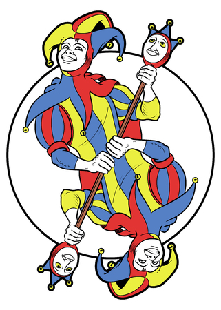 Reversible Joker displayed inside a circle. He holds a strange scepter with both his hands and he wears his typical medieval jester costume.