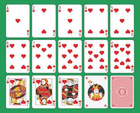Spielkartenherzanzug auf grünem Hintergrund. Originalfiguren, Joker und zurück.