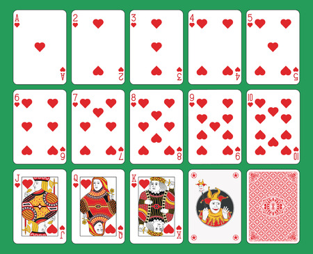 giggle: Playing cards hearts suit on green background. Original figures, joker and back.