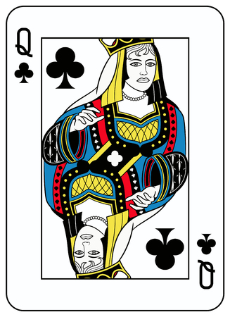 seraphic: Queen of clubs playingcard inspired by french tradition Illustration
