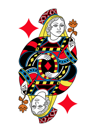 seraphic: Queen of diamonds without card frame. Design inspired by french tradition. Illustration
