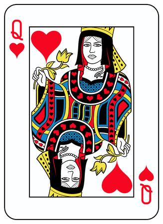 La reina de corazones que juega la tarjeta inspiró por la tradición francesa