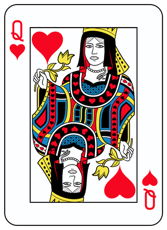 diamond shape: Queen of hearts playingcard inspired by french tradition Illustration