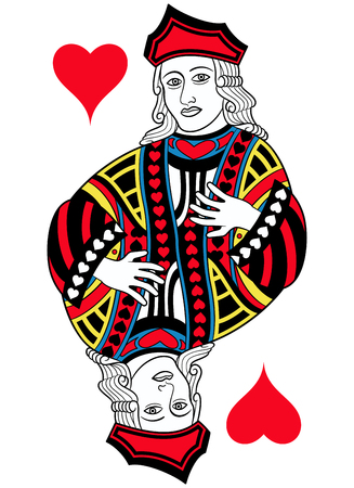 A Jack of hearts without card frame. Design inspired by french tradition. Illustration