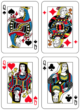 seraphic: Four Queens figures inspired by playing cards french tradition. All the figures are inside a playing card frame