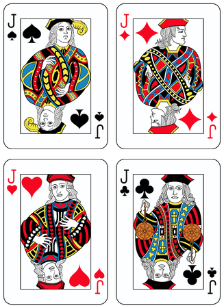 seraphic: Four Jacks figures inspired by playing cards french tradition. All the figures are inside a playing card frame
