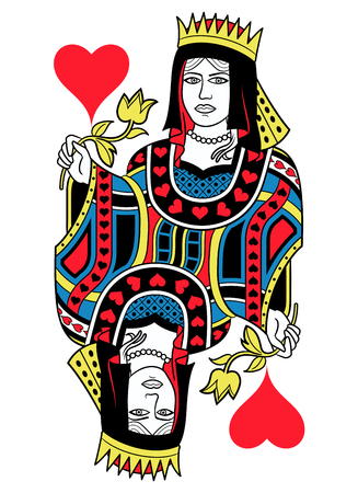 seraphic: Queen of Hearts without card frame. Design inspired by french tradition. Illustration