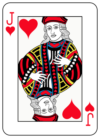 seraphic: A Jack of hearts playingcard inspired by french tradition Illustration