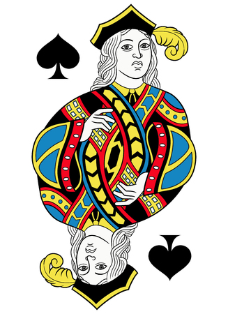 A Jack of spades without card frame. Design inspired by french tradition. Illustration