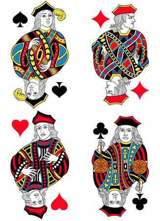 seraphic: Four Jacks figures inspired by playing cards french tradition. All the figures are isolated without card frame