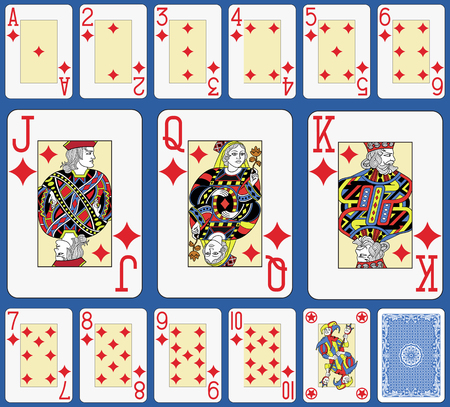 Blackjack playing cards diamonds suite. Original figures double sized and inspired by french tradition.
