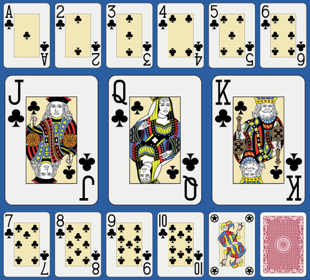 Blackjack playing cards clubs suite. Original figures double sized and inspired by french tradition.