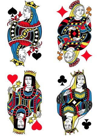 seraphic: Four Queens figures inspired by playing cards french tradition. All the figures are isolated without card frame
