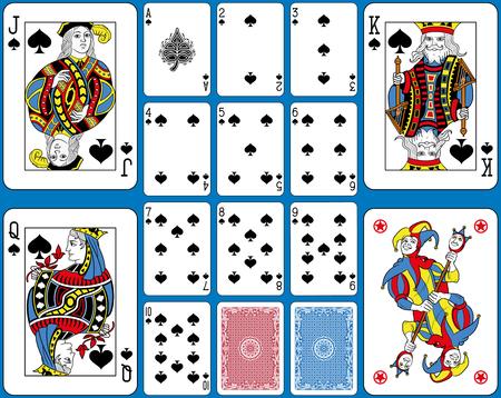 Juego de cartas de espadas. Figuras originales de tamaño doble e inspiradas por la tradición francesa. Ilustración de vector