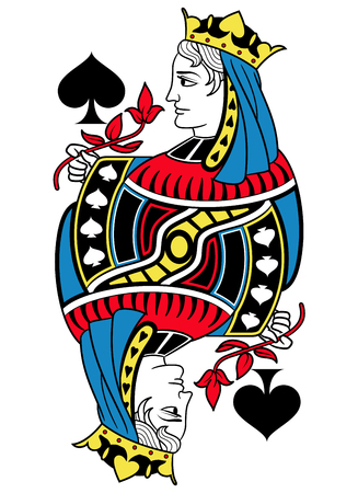 seraphic: Queen of spades without card frame. Design inspired by french tradition. Illustration