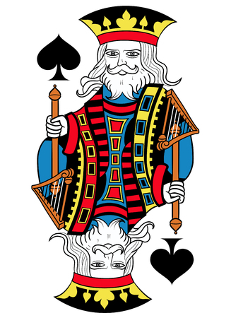 seraphic: King of spades without card frame. Design inspired by french tradition.