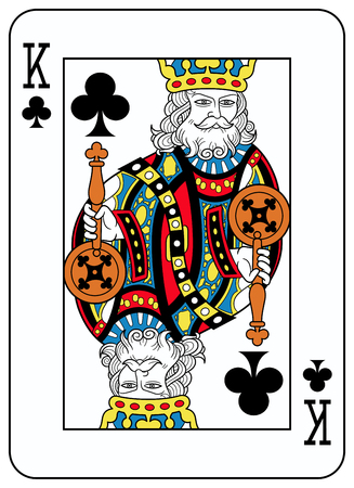 King of clubs playingcard inspired by french tradition