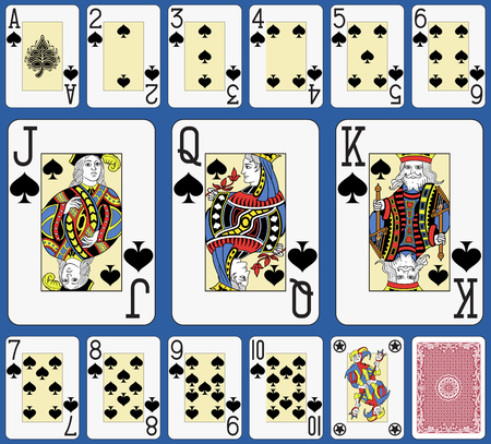 Blackjack playing cards spades suite. Original figures double sized and inspired by french tradition.