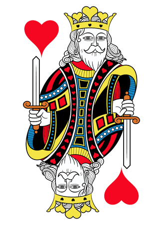 seraphic: King of hearts without card frame. Design inspired by french tradition.