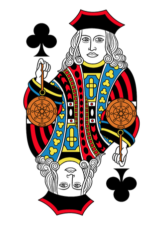 Cool Jack of clubs without card frame. Design inspired by french tradition.