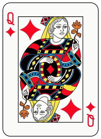 seraphic: Queen of diamonds playingcard inspired by french tradition