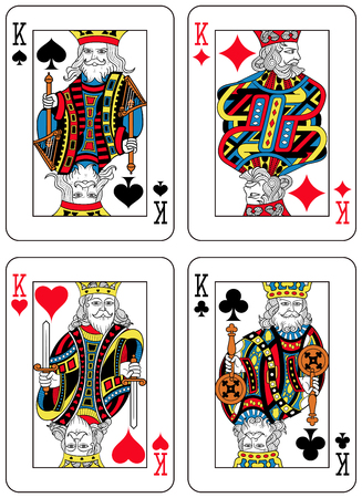seraphic: Four Kings figures inspired by playing cards french tradition. All the figures are inside a playing card frame