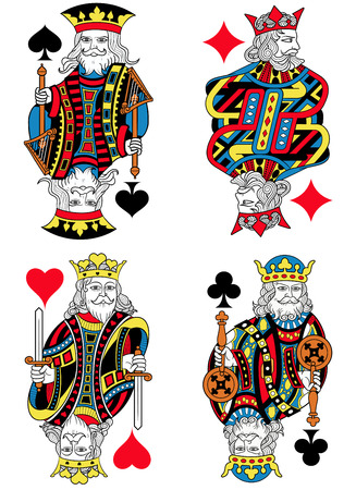 seraphic: Four Kings figures inspired by playing cards french tradition. All the figures are isolated without card frame